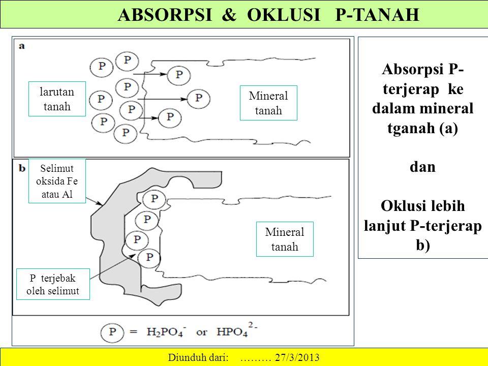 "MEKANISME PENJERAPAN FOSFAT ""Adsorption"" terjadi kalau ion fosfat terusir dari larutan tanah dan menjadi terikat pada permukaan partikel tanah. Kalau"