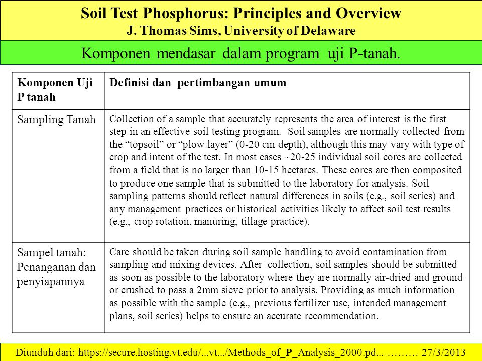 Soil Test Phosphorus: Principles and Overview J.