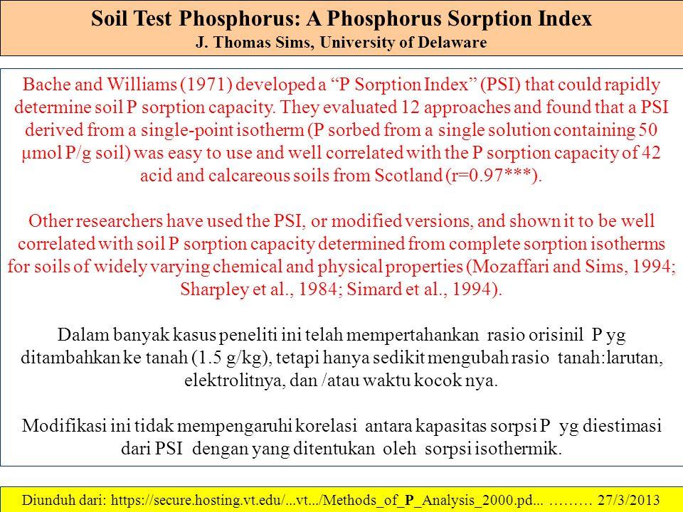 Soil Test Phosphorus: A Phosphorus Sorption Index J. Thomas Sims, University of Delaware Kapasitas sorpsi P suatu tanah dapat ditentukan dengan eksper