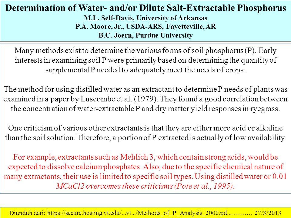 Soil Test Phosphorus: A Phosphorus Sorption Index J. Thomas Sims, University of Delaware References: 1.Bache, B.W., and E.G. Williams. 1971. A phospha