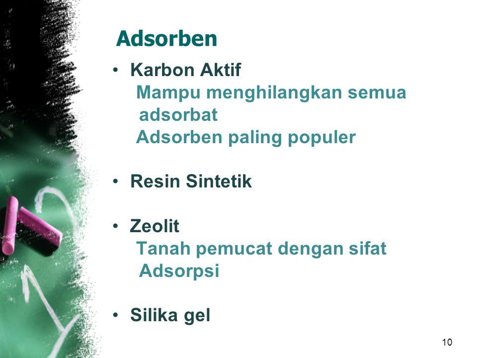 10 Adsorben Karbon Aktif Mampu menghilangkan semua adsorbat Adsorben paling populer Resin Sintetik Zeolit Tanah pemucat dengan sifat Adsorpsi Silika gel