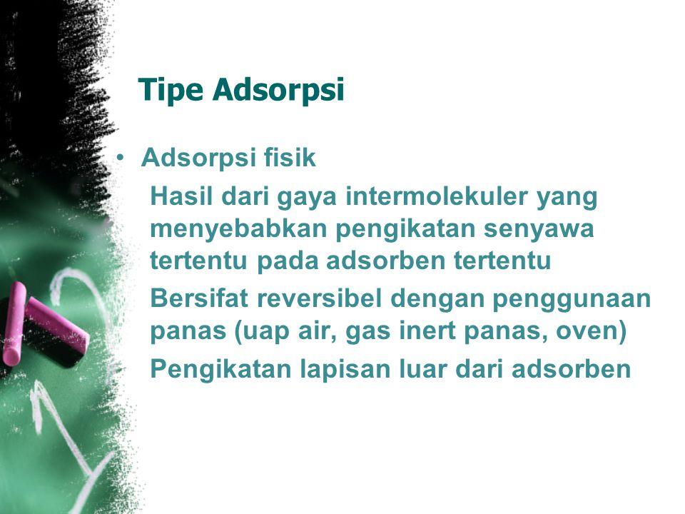 Tipe Adsorpsi Adsorpsi fisik Hasil dari gaya intermolekuler yang menyebabkan pengikatan senyawa tertentu pada adsorben tertentu Bersifat reversibel dengan penggunaan panas (uap air, gas inert panas, oven) Pengikatan lapisan luar dari adsorben