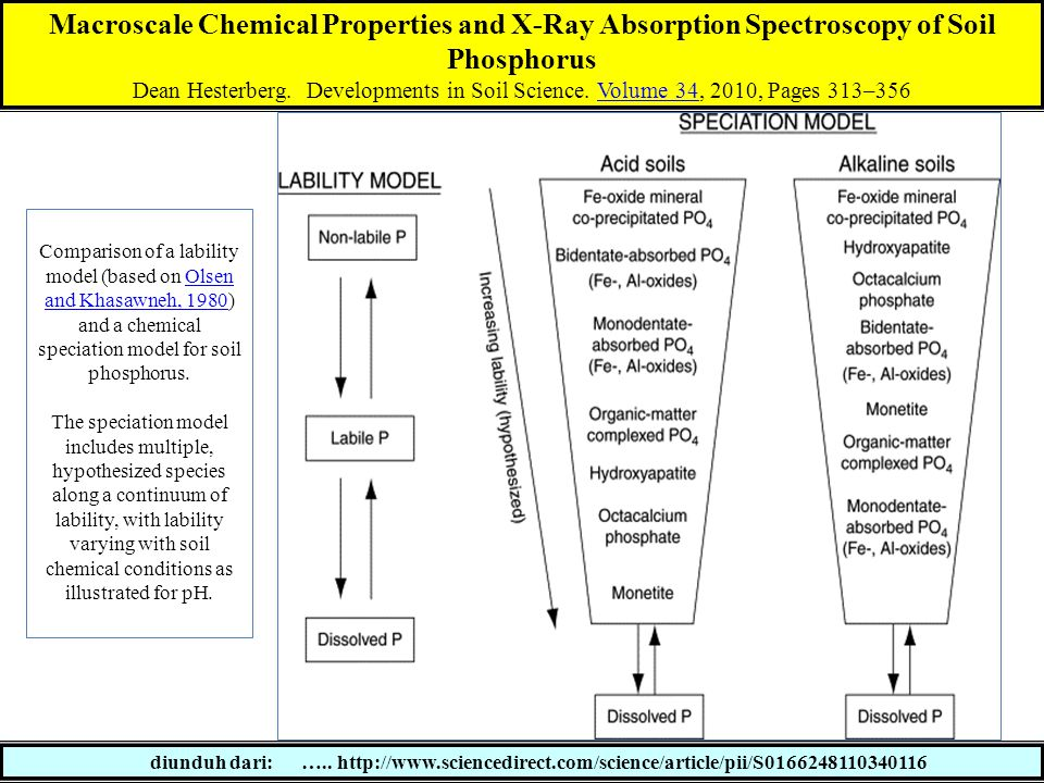Macroscale Chemical Properties and X-Ray Absorption Spectroscopy of Soil Phosphorus Dean Hesterberg. Developments in Soil Science. Volume 34, 2010, Pa