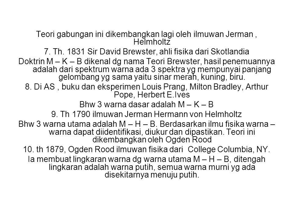 Teori gabungan ini dikembangkan lagi oleh ilmuwan Jerman, Helmholtz 7. Th. 1831 Sir David Brewster, ahli fisika dari Skotlandia Doktrin M – K – B dike