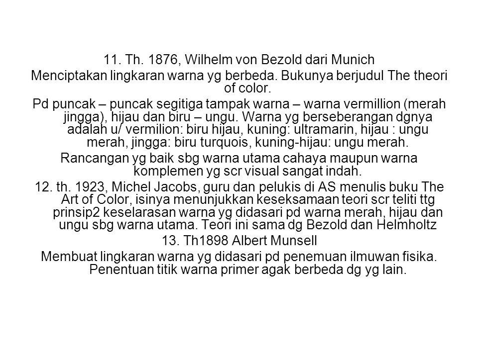 11. Th. 1876, Wilhelm von Bezold dari Munich Menciptakan lingkaran warna yg berbeda. Bukunya berjudul The theori of color. Pd puncak – puncak segitiga