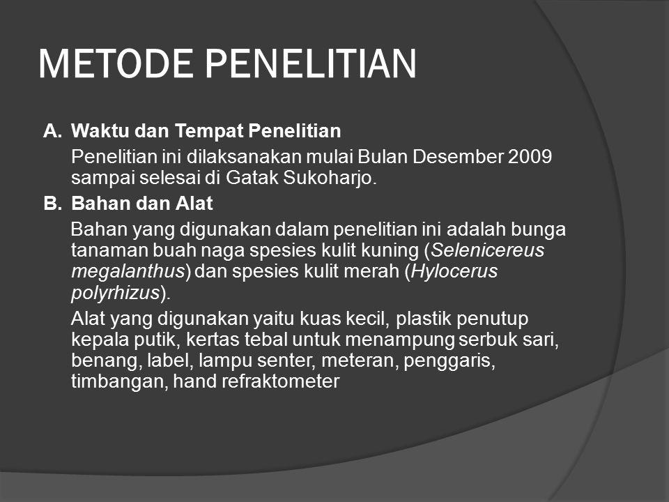 METODE PENELITIAN A. Waktu dan Tempat Penelitian Penelitian ini dilaksanakan mulai Bulan Desember 2009 sampai selesai di Gatak Sukoharjo. B.Bahan dan
