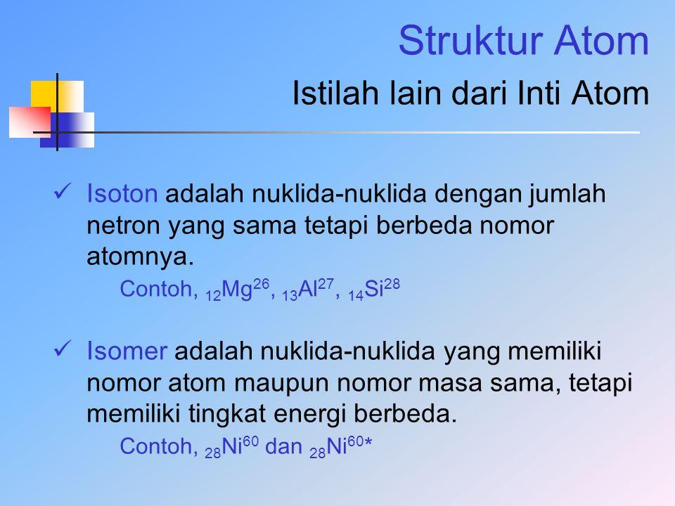 Struktur Atom Istilah lain dari Inti Atom Isoton adalah nuklida-nuklida dengan jumlah netron yang sama tetapi berbeda nomor atomnya. Contoh, 12 Mg 26,