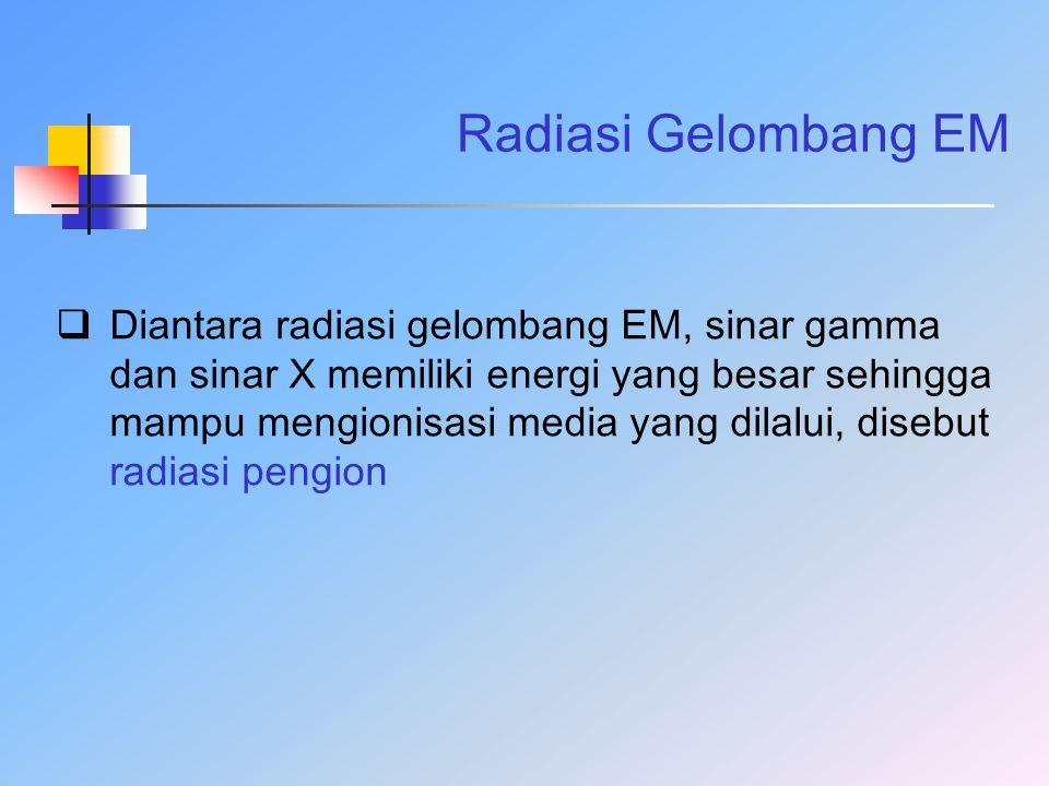 Radiasi Gelombang EM  Diantara radiasi gelombang EM, sinar gamma dan sinar X memiliki energi yang besar sehingga mampu mengionisasi media yang dilalu