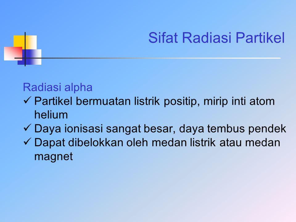 Sifat Radiasi Partikel Radiasi alpha Partikel bermuatan listrik positip, mirip inti atom helium Daya ionisasi sangat besar, daya tembus pendek Dapat d