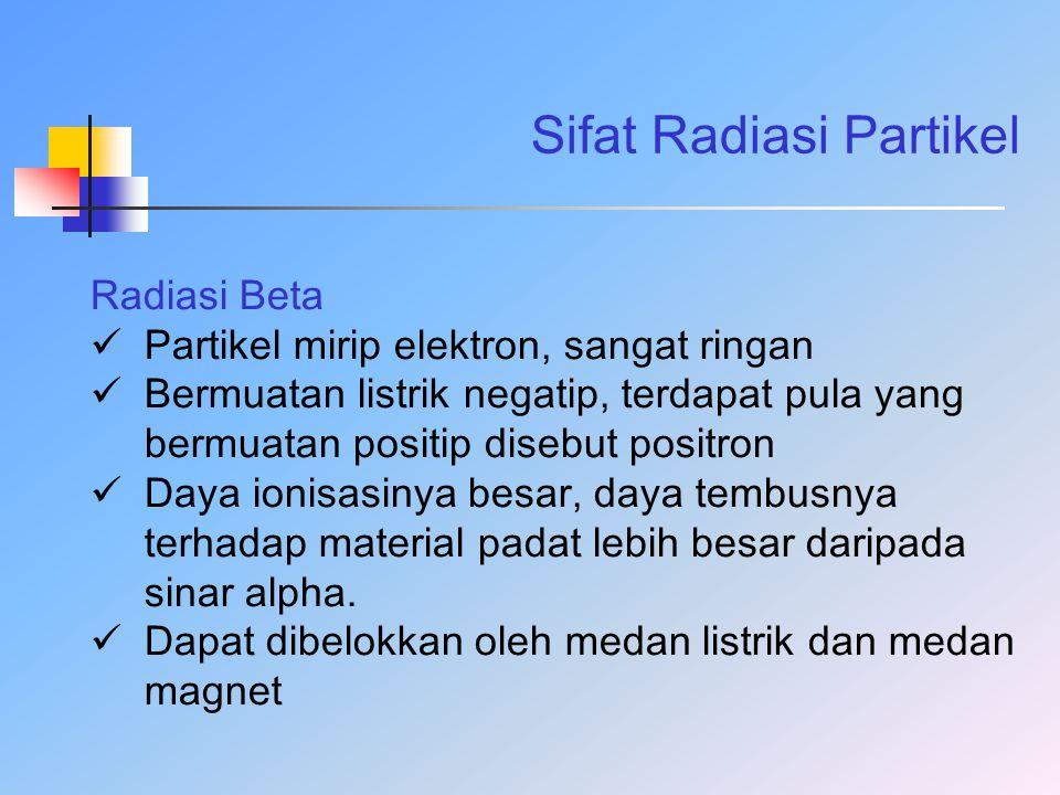 Sifat Radiasi Partikel Radiasi Beta Partikel mirip elektron, sangat ringan Bermuatan listrik negatip, terdapat pula yang bermuatan positip disebut pos