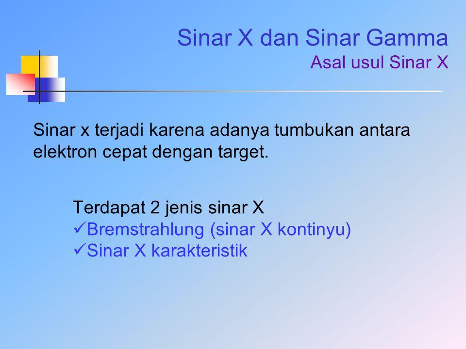Sinar X dan Sinar Gamma Asal usul Sinar X Sinar x terjadi karena adanya tumbukan antara elektron cepat dengan target. Terdapat 2 jenis sinar X Bremstr