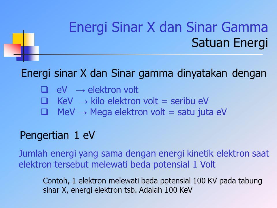 Energi Sinar X dan Sinar Gamma Satuan Energi Energi sinar X dan Sinar gamma dinyatakan dengan  eV → elektron volt  KeV → kilo elektron volt = seribu