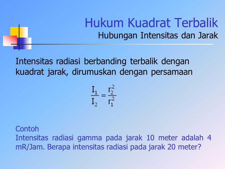Hukum Kuadrat Terbalik Hubungan Intensitas dan Jarak Contoh Intensitas radiasi gamma pada jarak 10 meter adalah 4 mR/Jam. Berapa intensitas radiasi pa