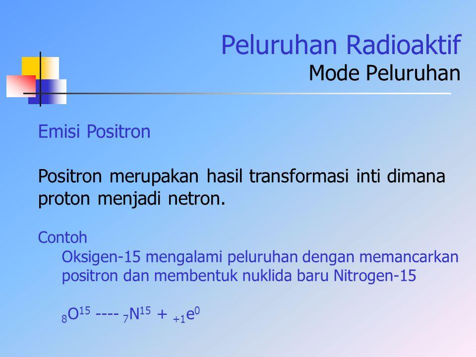 Peluruhan Radioaktif Mode Peluruhan Emisi Positron Positron merupakan hasil transformasi inti dimana proton menjadi netron. Contoh Oksigen-15 mengalam