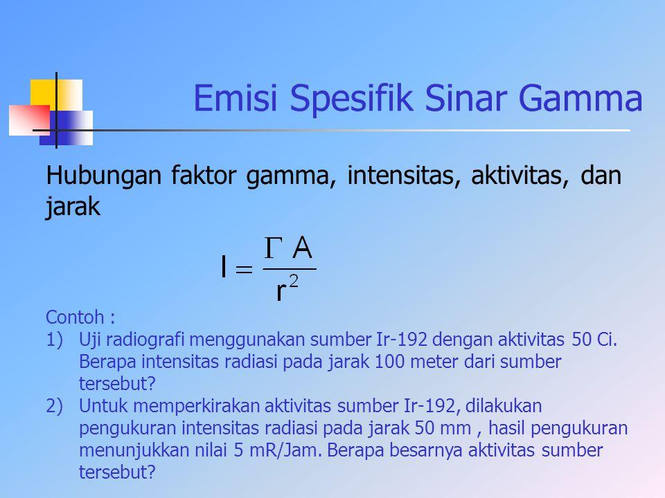 Emisi Spesifik Sinar Gamma Hubungan faktor gamma, intensitas, aktivitas, dan jarak Contoh : 1)Uji radiografi menggunakan sumber Ir-192 dengan aktivita
