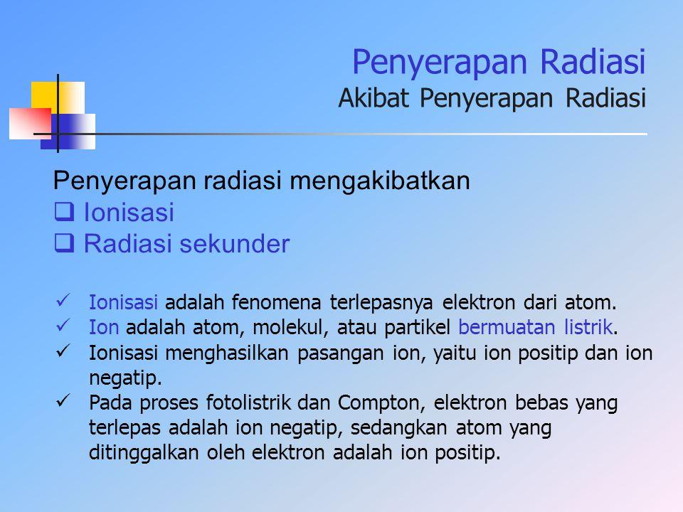 Penyerapan Radiasi Akibat Penyerapan Radiasi Ionisasi adalah fenomena terlepasnya elektron dari atom. Ion adalah atom, molekul, atau partikel bermuata
