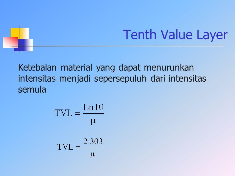 Ketebalan material yang dapat menurunkan intensitas menjadi sepersepuluh dari intensitas semula Tenth Value Layer