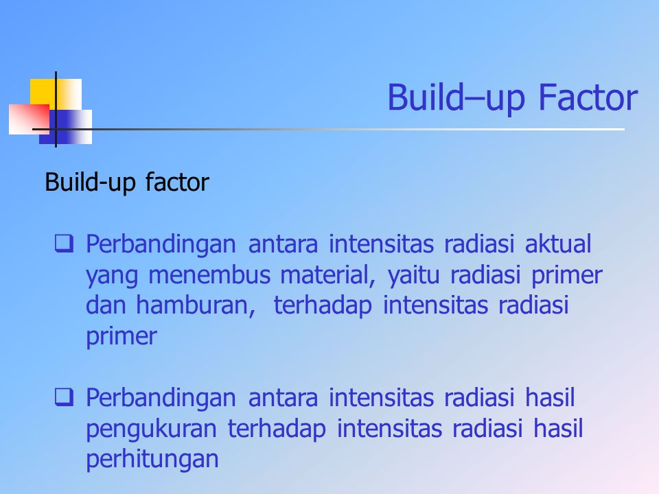 Build–up Factor Build-up factor  Perbandingan antara intensitas radiasi aktual yang menembus material, yaitu radiasi primer dan hamburan, terhadap in