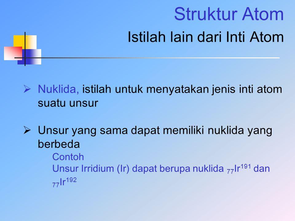 Struktur Atom Istilah lain dari Inti Atom  Nuklida, istilah untuk menyatakan jenis inti atom suatu unsur  Unsur yang sama dapat memiliki nuklida yan