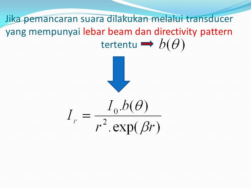 Jika pemancaran suara dilakukan melalui transducer yang mempunyai lebar beam dan directivity pattern tertentu