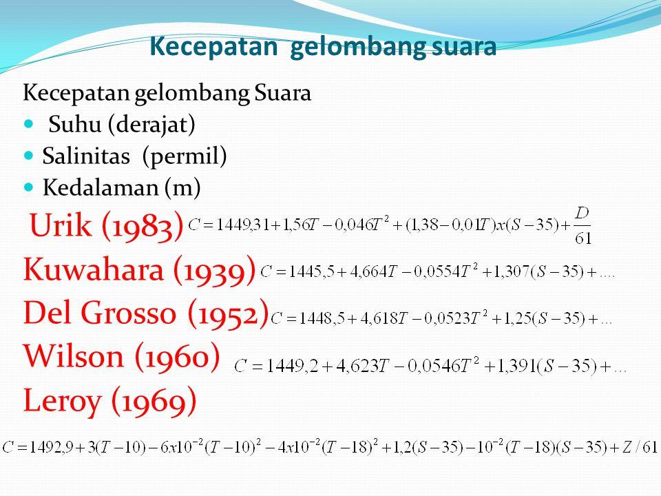 Kecepatan gelombang suara Kecepatan gelombang Suara Suhu (derajat) Salinitas (permil) Kedalaman (m) Urik (1983) Kuwahara (1939) Del Grosso (1952) Wilson (1960) Leroy (1969)