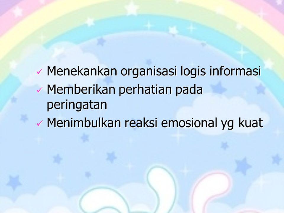 Menekankan organisasi logis informasi Menekankan organisasi logis informasi Memberikan perhatian pada peringatan Memberikan perhatian pada peringatan Menimbulkan reaksi emosional yg kuat Menimbulkan reaksi emosional yg kuat