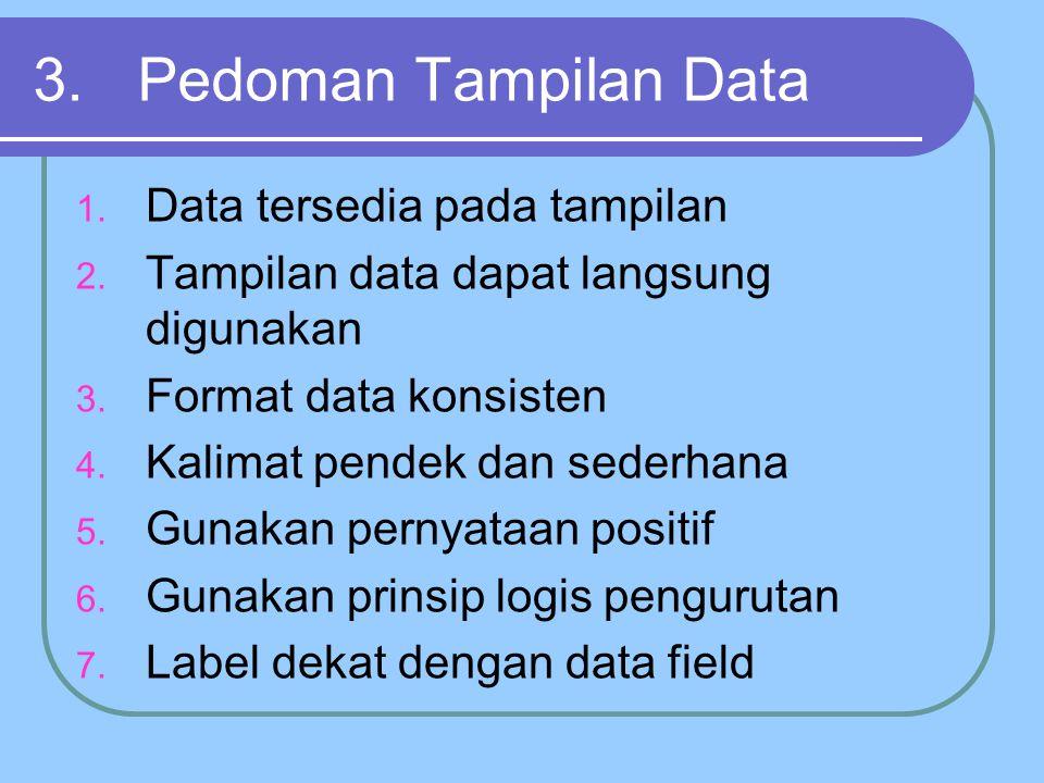 3.Pedoman Tampilan Data 1. Data tersedia pada tampilan 2.