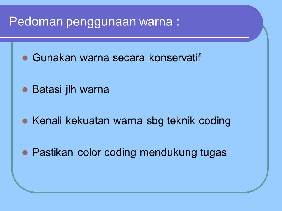 Pedoman penggunaan warna : Gunakan warna secara konservatif Batasi jlh warna Kenali kekuatan warna sbg teknik coding Pastikan color coding mendukung tugas