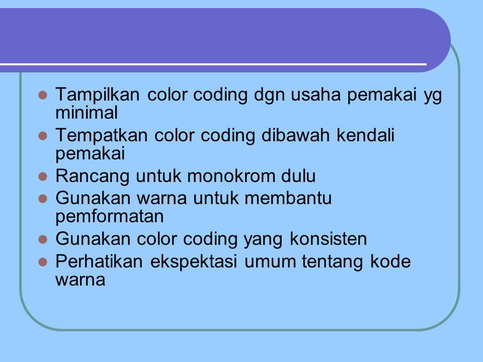 Tampilkan color coding dgn usaha pemakai yg minimal Tempatkan color coding dibawah kendali pemakai Rancang untuk monokrom dulu Gunakan warna untuk membantu pemformatan Gunakan color coding yang konsisten Perhatikan ekspektasi umum tentang kode warna