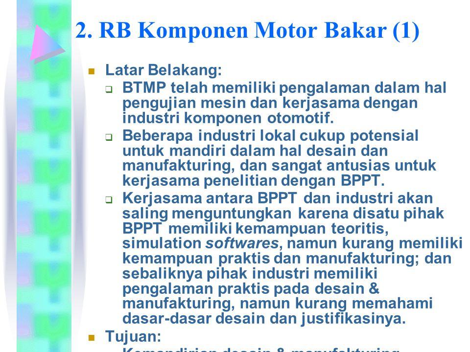 2. RB Komponen Motor Bakar (1) Latar Belakang:  BTMP telah memiliki pengalaman dalam hal pengujian mesin dan kerjasama dengan industri komponen otomo