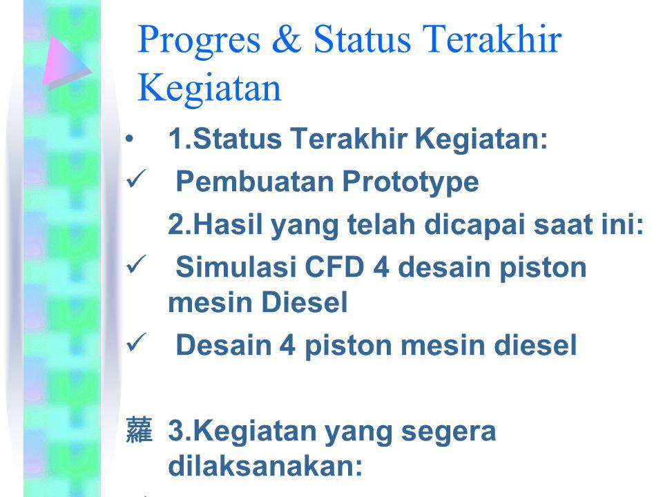 Progres & Status Terakhir Kegiatan 1.Status Terakhir Kegiatan: Pembuatan Prototype 2.Hasil yang telah dicapai saat ini: Simulasi CFD 4 desain piston mesin Diesel Desain 4 piston mesin diesel 蘿 3.Kegiatan yang segera dilaksanakan: Pengujian prototype dan evaluasi hasil uji