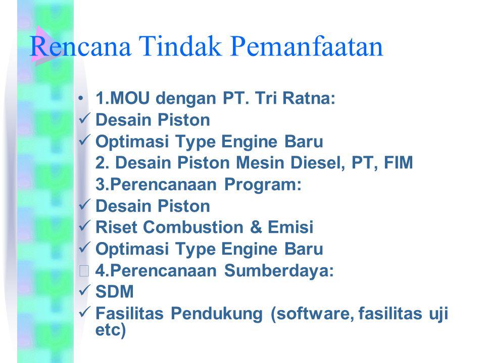 Rencana Tindak Pemanfaatan 1.MOU dengan PT. Tri Ratna: Desain Piston Optimasi Type Engine Baru 2. Desain Piston Mesin Diesel, PT, FIM 3.Perencanaan Pr