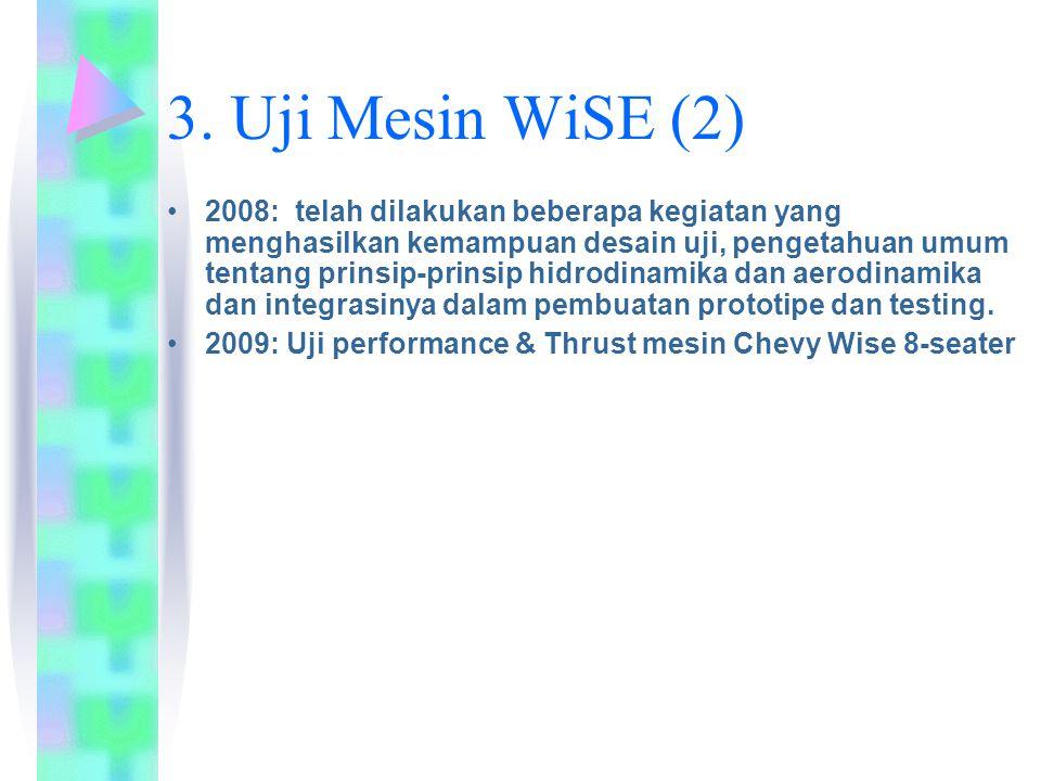 3. Uji Mesin WiSE (2) 2008: telah dilakukan beberapa kegiatan yang menghasilkan kemampuan desain uji, pengetahuan umum tentang prinsip-prinsip hidrodi