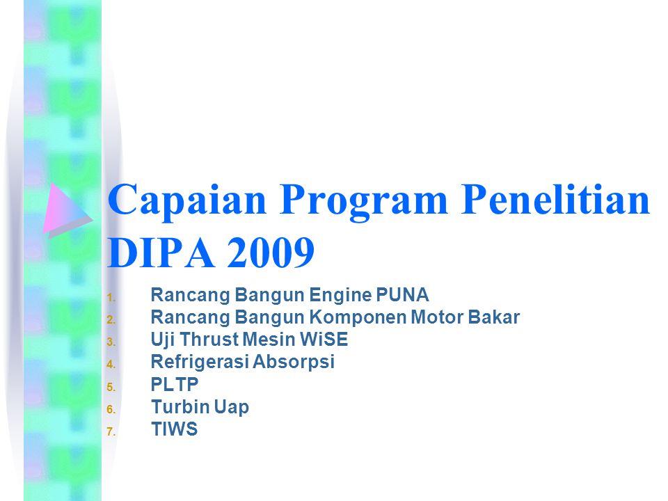 Capaian Program Penelitian DIPA 2009 1. Rancang Bangun Engine PUNA 2. Rancang Bangun Komponen Motor Bakar 3. Uji Thrust Mesin WiSE 4. Refrigerasi Abso
