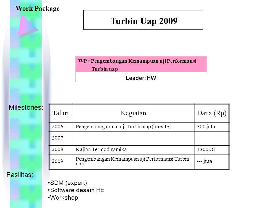 Leader: HW WP : Pengembangan Kemampuan uji Performansi Turbin uap Turbin Uap 2009 Work Package TahunKegiatanDana (Rp) 2006Pengembangan alat uji Turbin uap (on-site)300 juta 2007 2008Kajian Termodinamika1300 OJ 2009 Pengembangan Kemampuan uji Performansi Turbin uap --- juta Milestones: Fasilitas: SDM (expert) Software desain HE Workshop