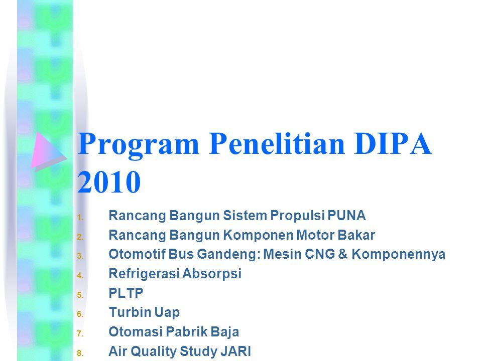 Program Penelitian DIPA 2010 1. Rancang Bangun Sistem Propulsi PUNA 2.
