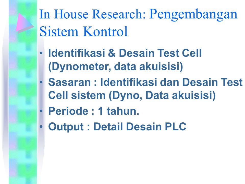 In House Research: Pengembangan Sistem Kontrol Identifikasi & Desain Test Cell (Dynometer, data akuisisi) Sasaran : Identifikasi dan Desain Test Cell sistem (Dyno, Data akuisisi) Periode : 1 tahun.