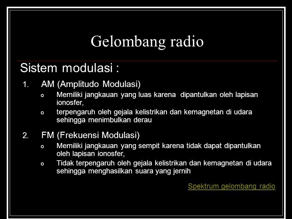 Gelombang radio Sistem modulasi : 1. AM (Amplitudo Modulasi) o Memiliki jangkauan yang luas karena dipantulkan oleh lapisan ionosfer, o terpengaruh ol