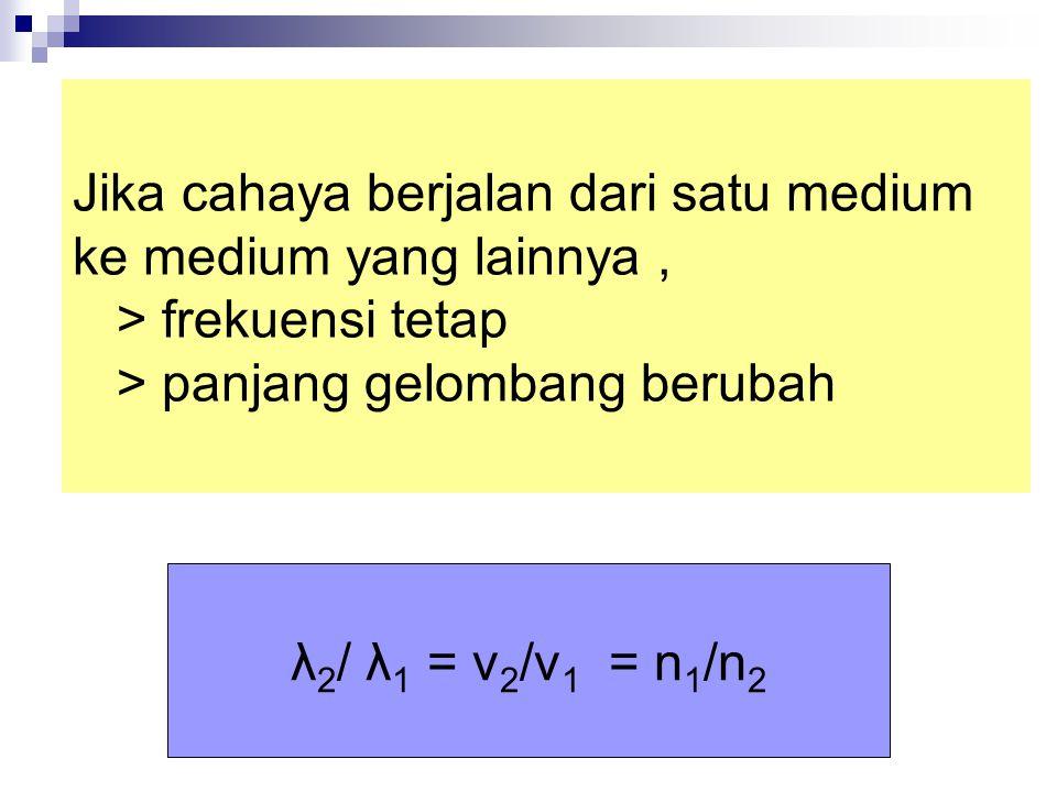 Jika cahaya berjalan dari satu medium ke medium yang lainnya, > frekuensi tetap > panjang gelombang berubah λ 2 / λ 1 = v 2 /v 1 = n 1 /n 2