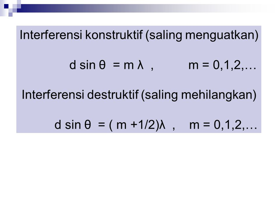 Interferensi konstruktif (saling menguatkan) d sin θ = m λ, m = 0,1,2,… Interferensi destruktif (saling mehilangkan) d sin θ = ( m +1/2)λ, m = 0,1,2,…