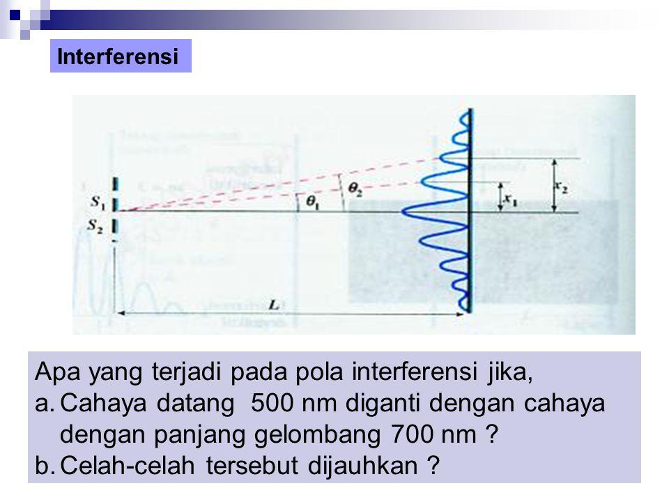 Apa yang terjadi pada pola interferensi jika, a.Cahaya datang 500 nm diganti dengan cahaya dengan panjang gelombang 700 nm .
