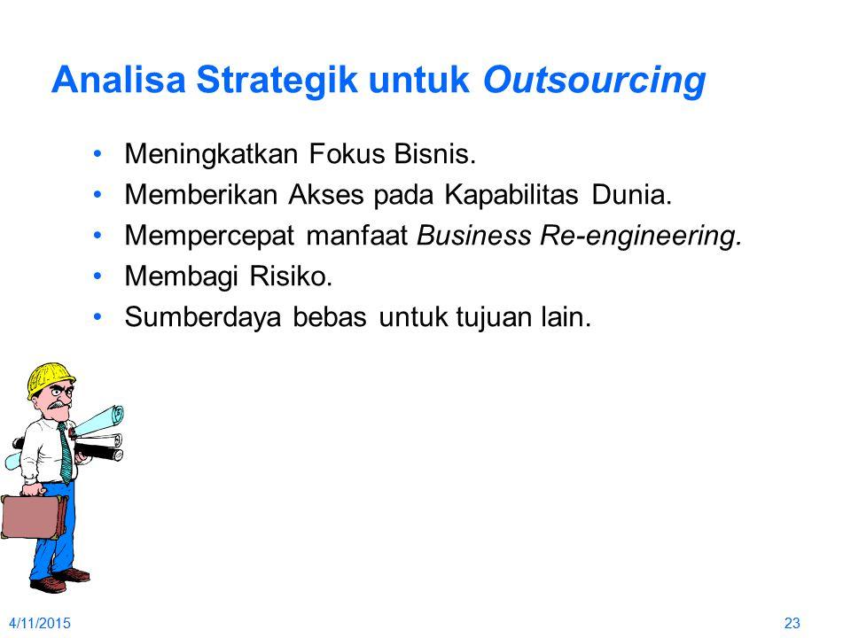 4/11/2015234/11/201523 Analisa Strategik untuk Outsourcing Meningkatkan Fokus Bisnis. Memberikan Akses pada Kapabilitas Dunia. Mempercepat manfaat Bus