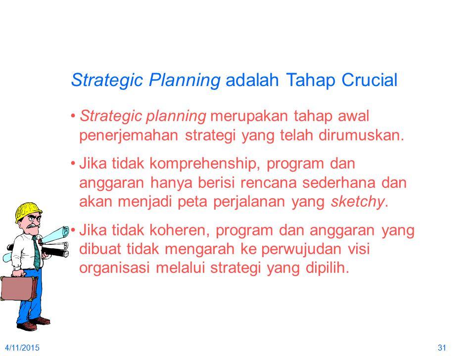 4/11/2015314/11/201531 Strategic Planning adalah Tahap Crucial Strategic planning merupakan tahap awal penerjemahan strategi yang telah dirumuskan. Ji