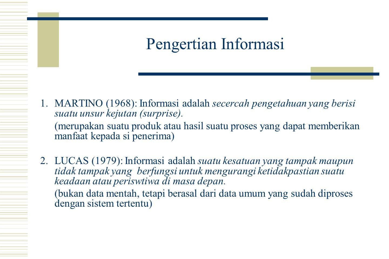 Pengertian Informasi 1.MARTINO (1968): Informasi adalah secercah pengetahuan yang berisi suatu unsur kejutan (surprise).
