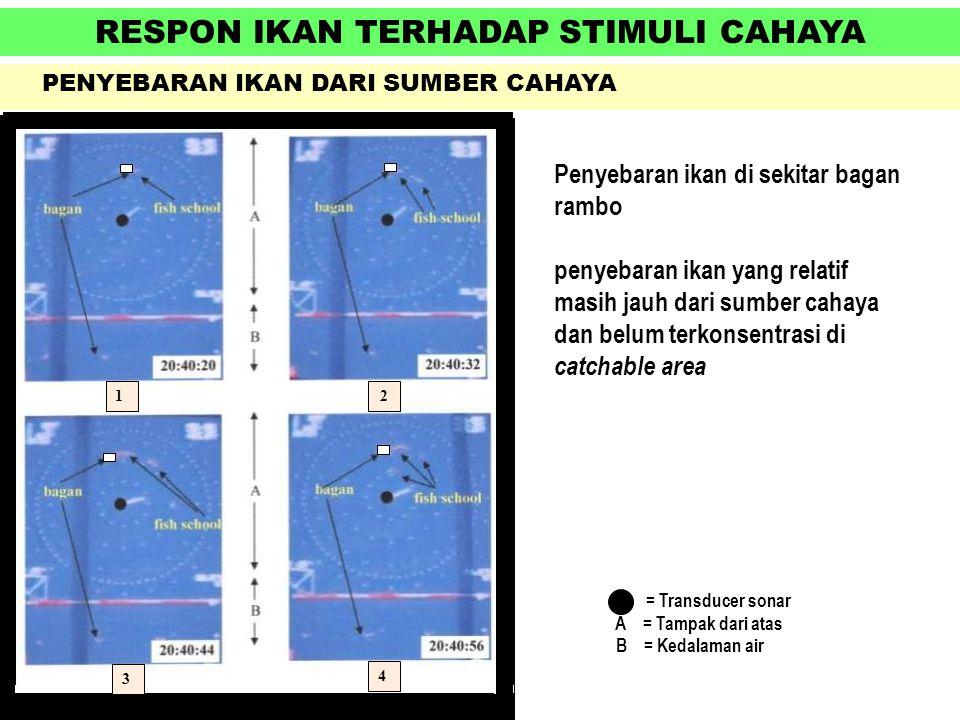 RESPON IKAN TERHADAP STIMULI CAHAYA PENYEBARAN IKAN DARI SUMBER CAHAYA = Transducer sonar A = Tampak dari atas B = Kedalaman air Penyebaran ikan di se