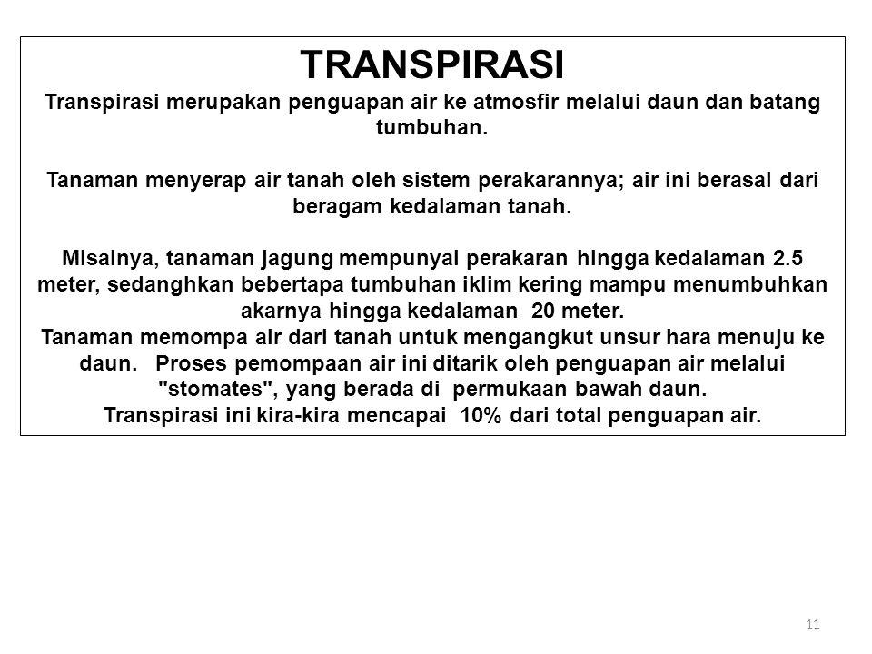 11 TRANSPIRASI Transpirasi merupakan penguapan air ke atmosfir melalui daun dan batang tumbuhan.