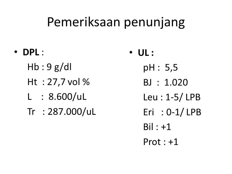 Pemeriksaan penunjang DPL : Hb : 9 g/dl Ht : 27,7 vol % L : 8.600/uL Tr : 287.000/uL UL : pH : 5,5 BJ : 1.020 Leu : 1-5/ LPB Eri : 0-1/ LPB Bil : +1 P