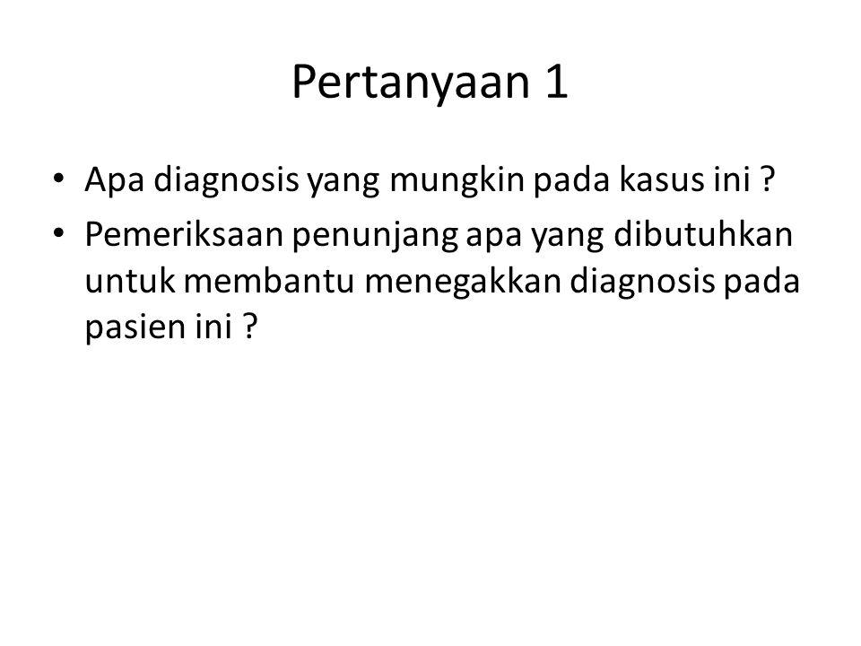 Pertanyaan 1 Apa diagnosis yang mungkin pada kasus ini ? Pemeriksaan penunjang apa yang dibutuhkan untuk membantu menegakkan diagnosis pada pasien ini