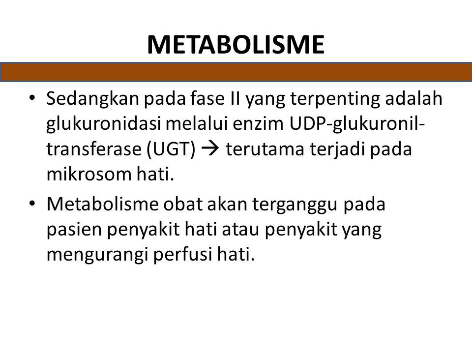 METABOLISME Sedangkan pada fase II yang terpenting adalah glukuronidasi melalui enzim UDP-glukuronil- transferase (UGT)  terutama terjadi pada mikrosom hati.