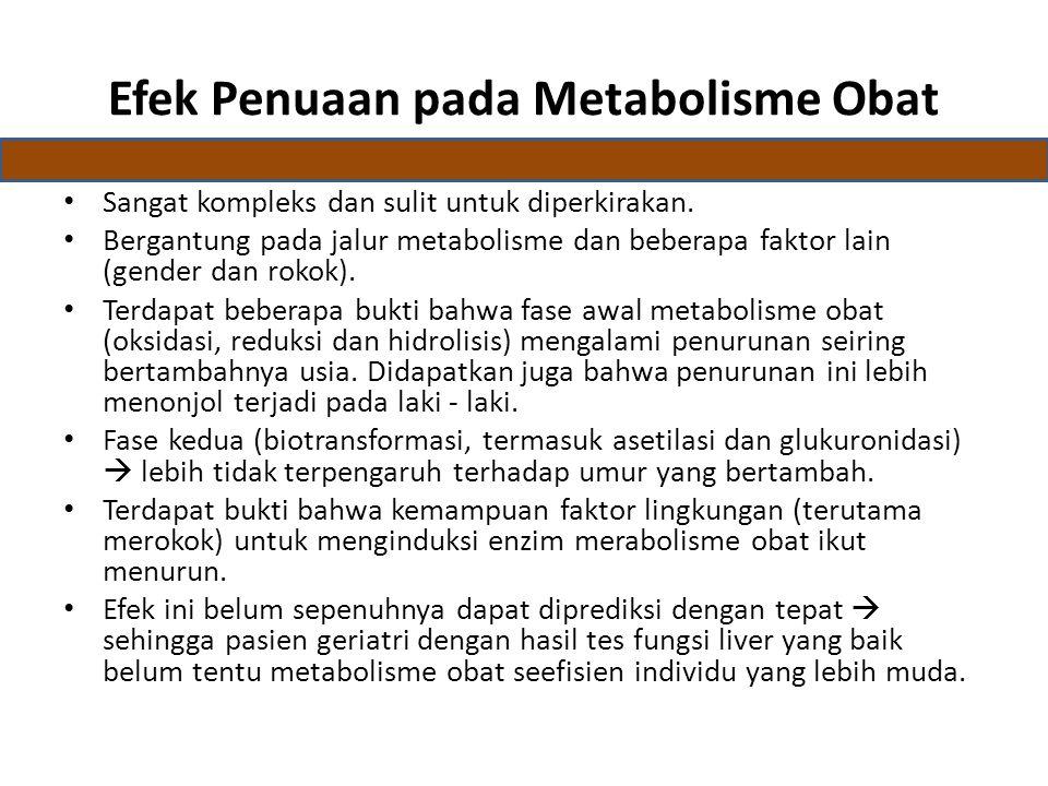 Efek Penuaan pada Metabolisme Obat Sangat kompleks dan sulit untuk diperkirakan.